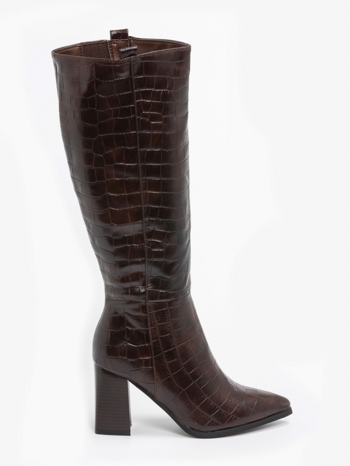 Croco μπότες με χοντρό τακούνι