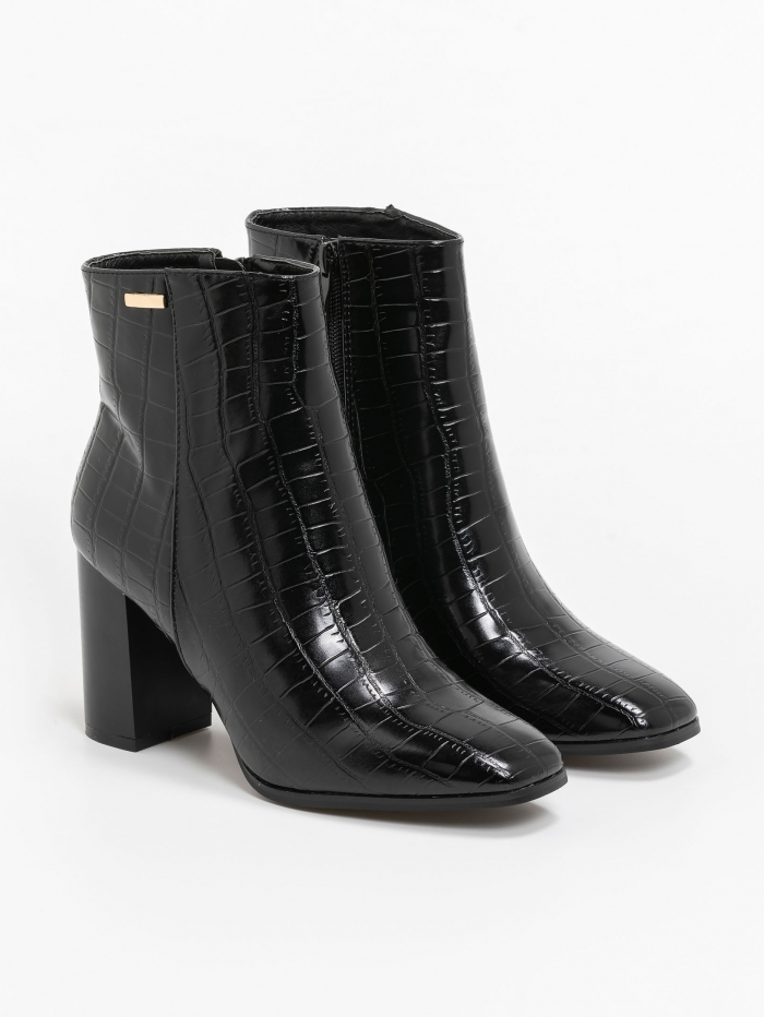 Croco patent leather high heels boots