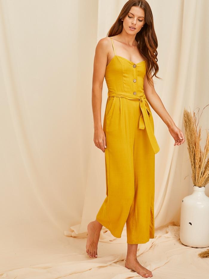 Cropped ολόσωμη φόρμα με ζώνη