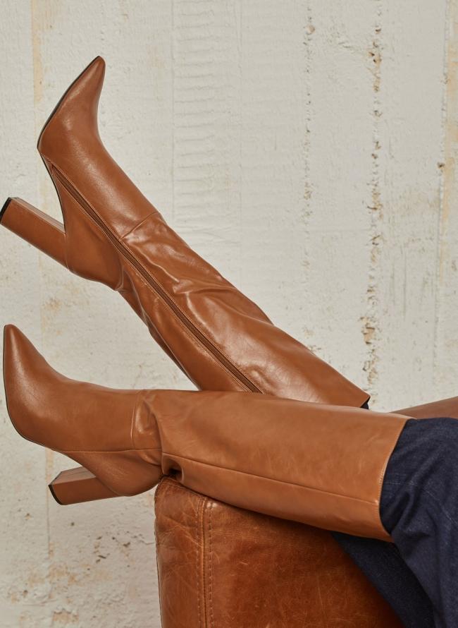Δερματίνη  μπότες με block heel
