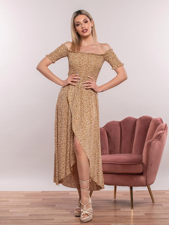 Έξωμο φλοράλ φόρεμα με σφηκοφωλιά