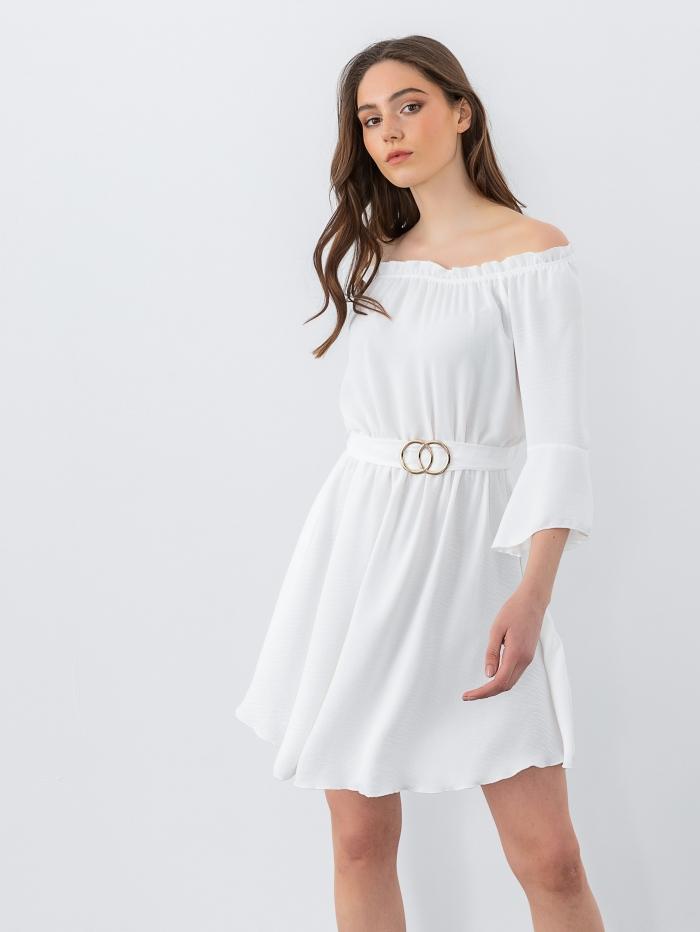 Έξωμο φόρεμα με βολάν
