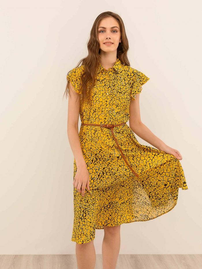 Εμπριμέ φόρεμα με δερμάτινο ζωνάκι