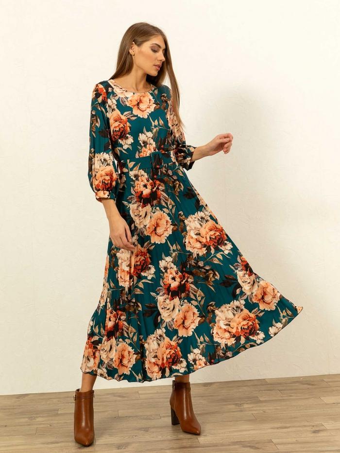Φλοράλ φόρεμα πλισέ