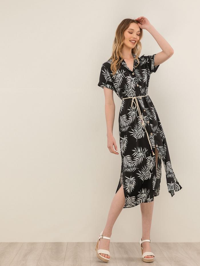 Φλοράλ φόρεμα πουκάμισο με ζωνάκι