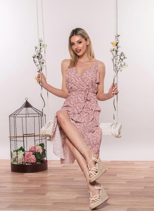 Φλοράλ κρουαζέ φόρεμα
