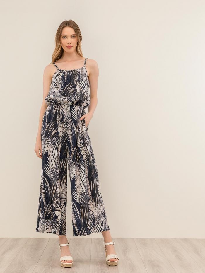 Φλοράλ ολόσωμη φόρμα με λάστιχο στη μέση