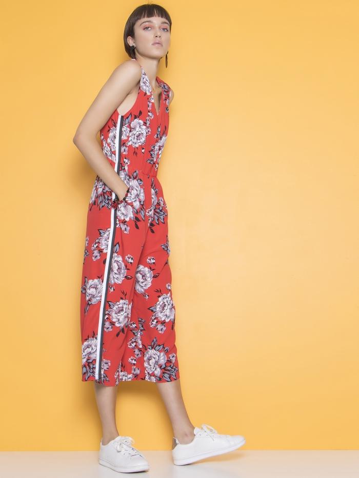 Φλοράλ ολόσωμη φόρμα με ρίγα