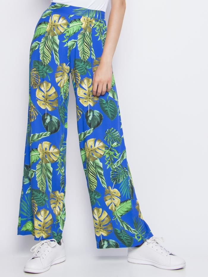 Φλοράλ παντελόνι με σχέδιο φύλλα