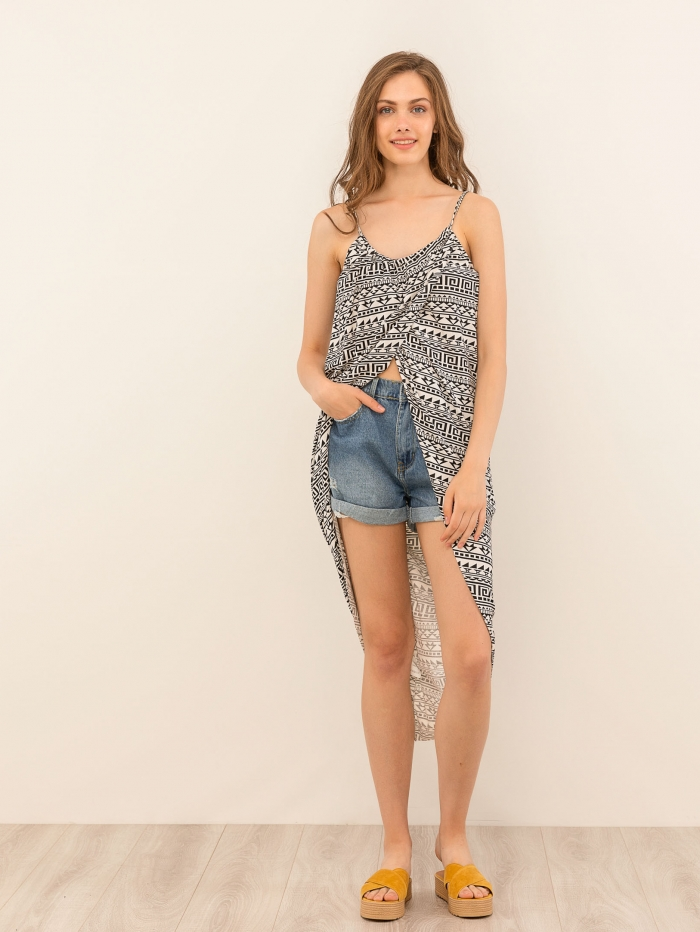 Φόρεμα αμάνικο με pattern