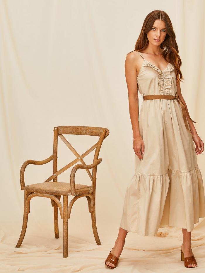 Φόρεμα με τιράντες και βολάν