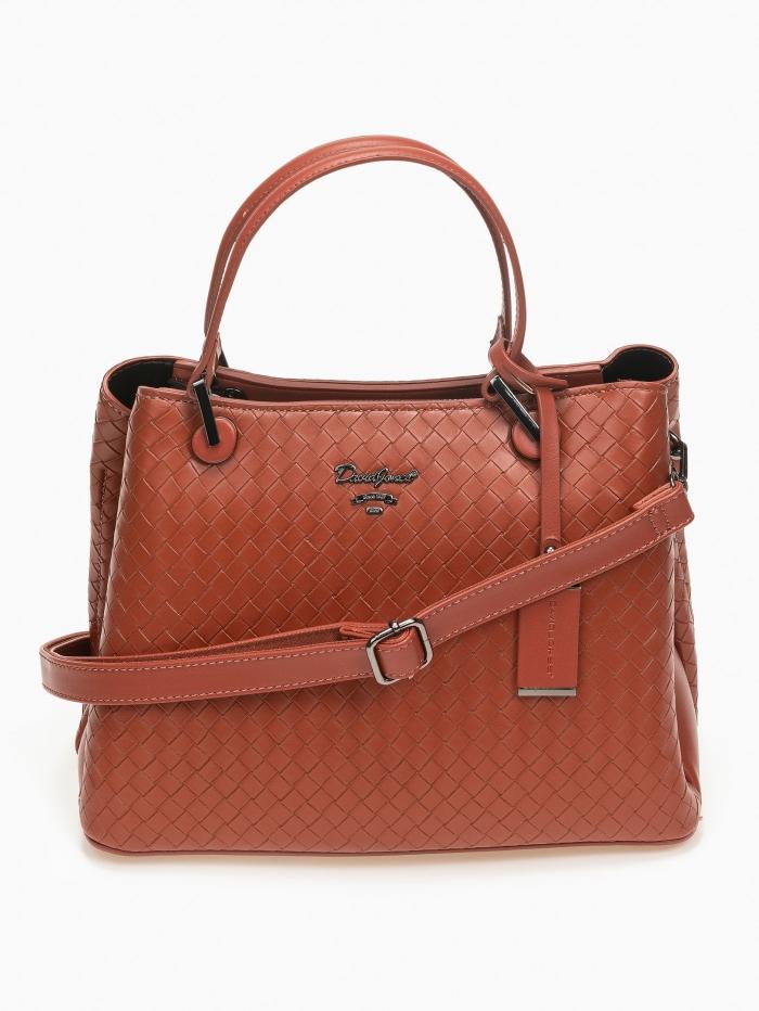 Τσάντα χειρός - ώμου με εφέ πλεκτού