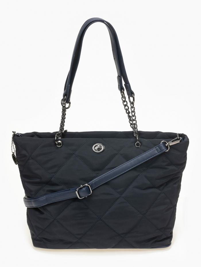 Υφασμάτινη καπιτονέ τσάντα ώμου
