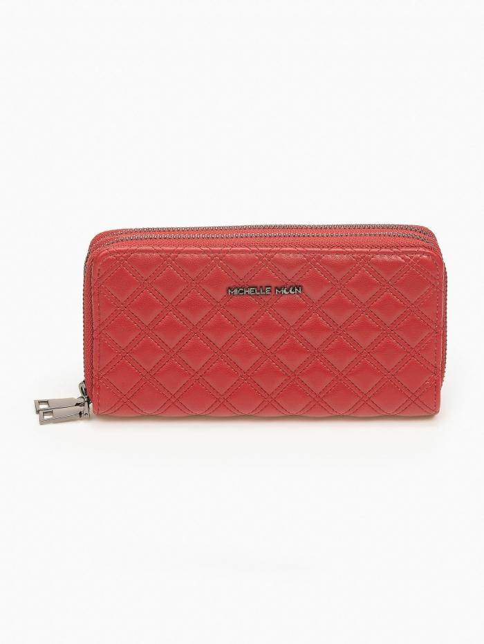 Γυναικείο καπιτονέ πορτοφόλι με φερμουάρ