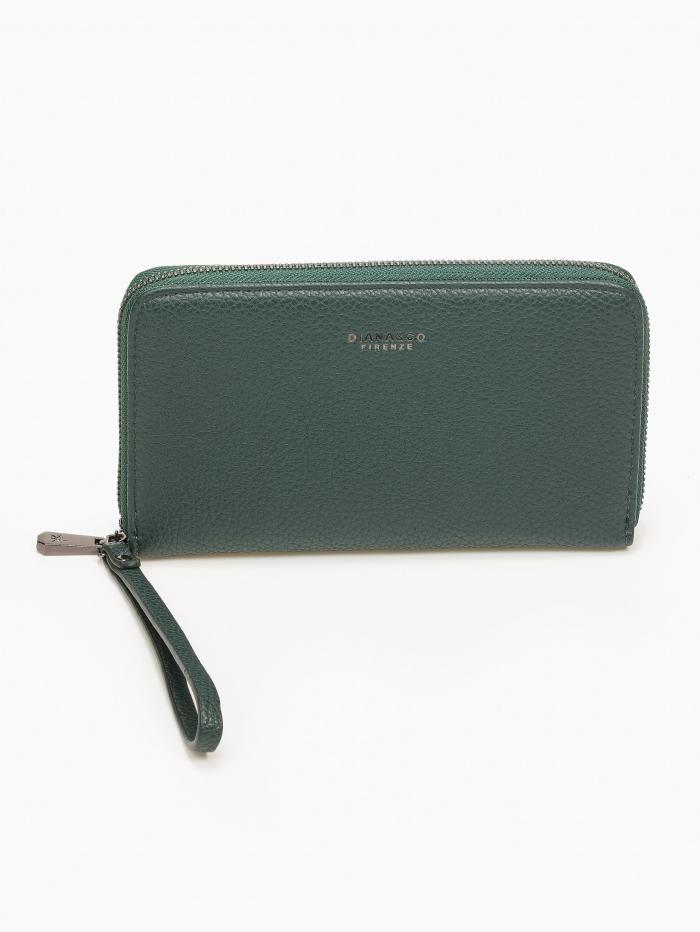 Γυναικείο πορτοφόλι με φερμουάρ και ανάγλυφη υψή