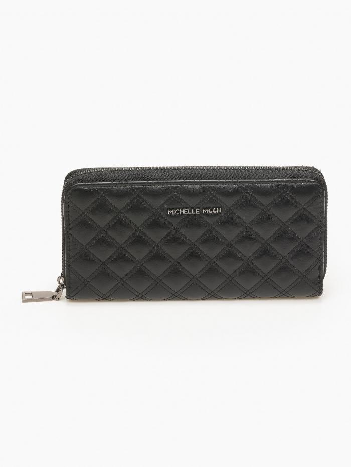 Γυναικείο πορτοφόλι slim με καπιτονέ όψη