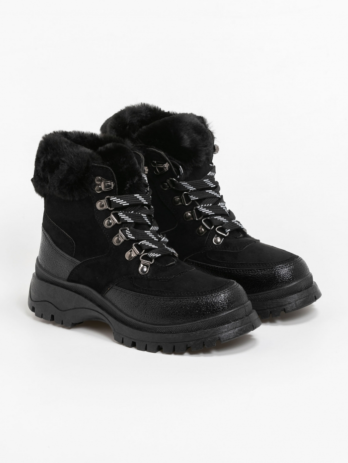 Hiking lace up fur shoes