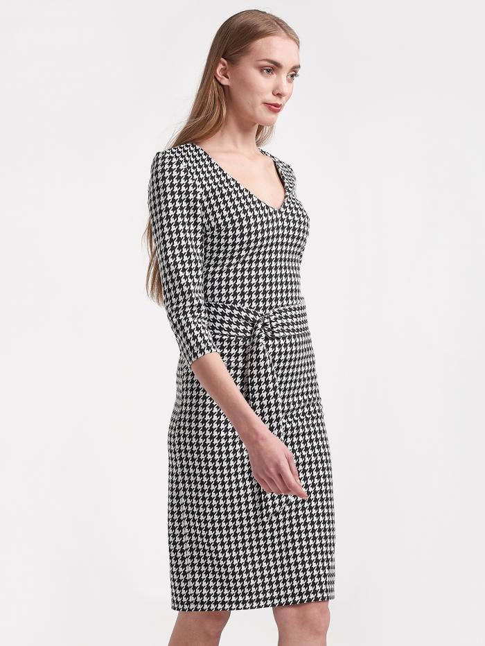 Καρό φόρεμα με ζώνη