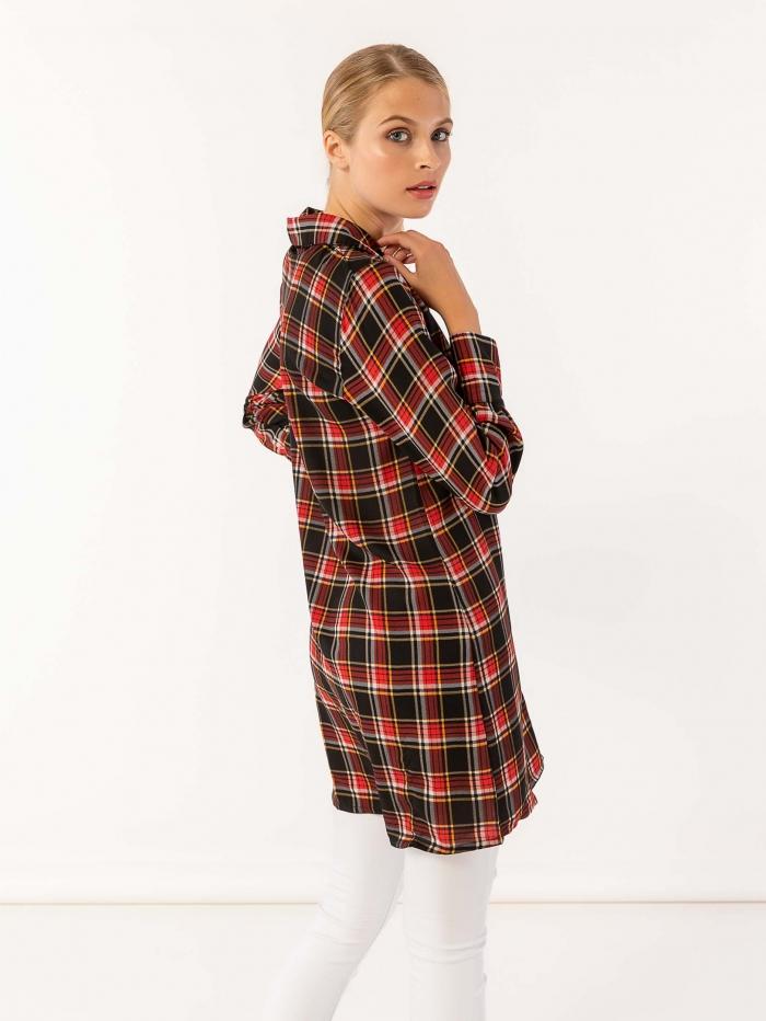 Καρό πουκαμισοφόρεμα με κορδέλα