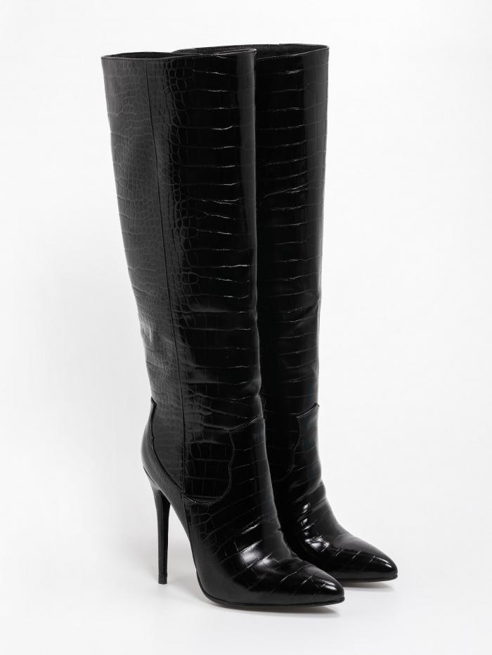 Κροκό μυτερές μπότες με λεπτό τακούνι