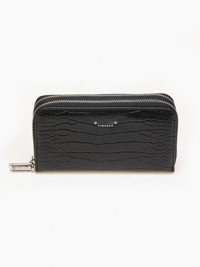 Κροκό πορτοφόλι με διπλό φερμουάρ