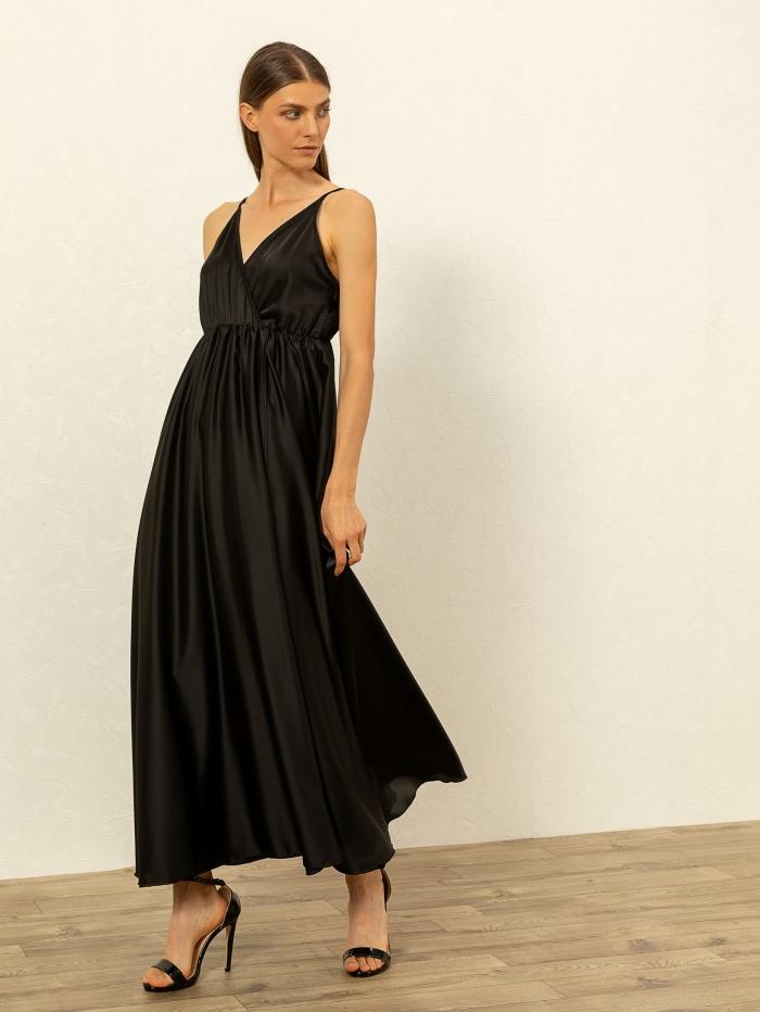 Κρουαζέ φόρεμα με σατέν υφή