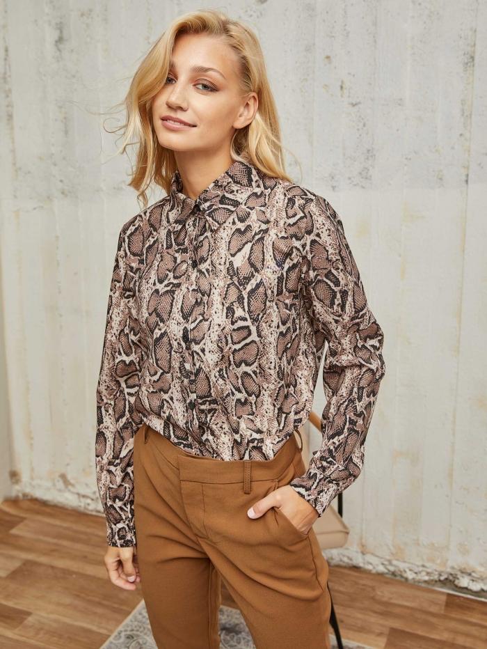 Leopard overshirt σε άνετη γραμμή