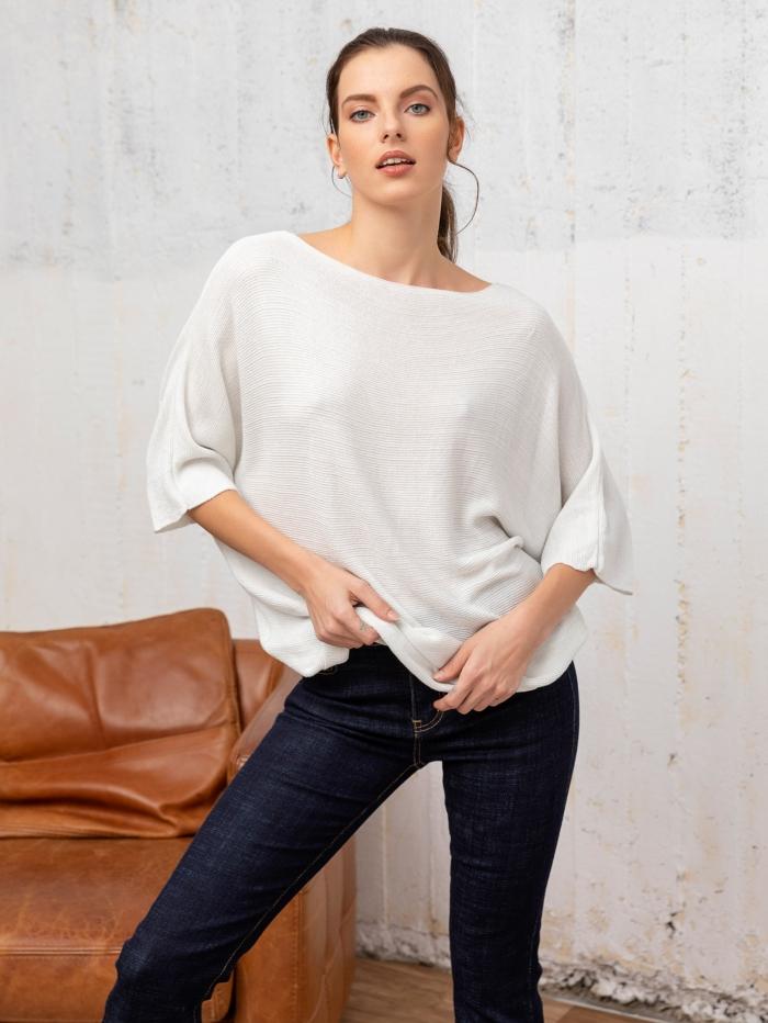 Πλεκτή μπλούζα με μεταλλιζέ λεπτομέρειες