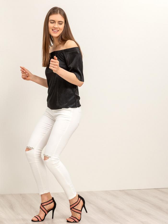 Λευκό stretch παντελόνι με πέρλες