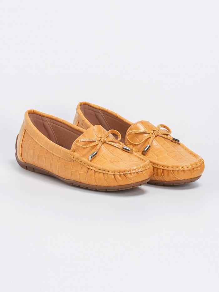 Loafers croco με φιογκάκι