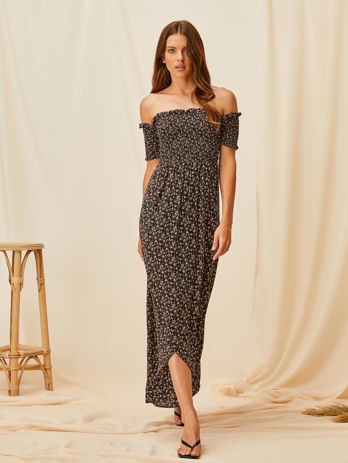 Μακρύ έξωμο φλοράλ φόρεμα