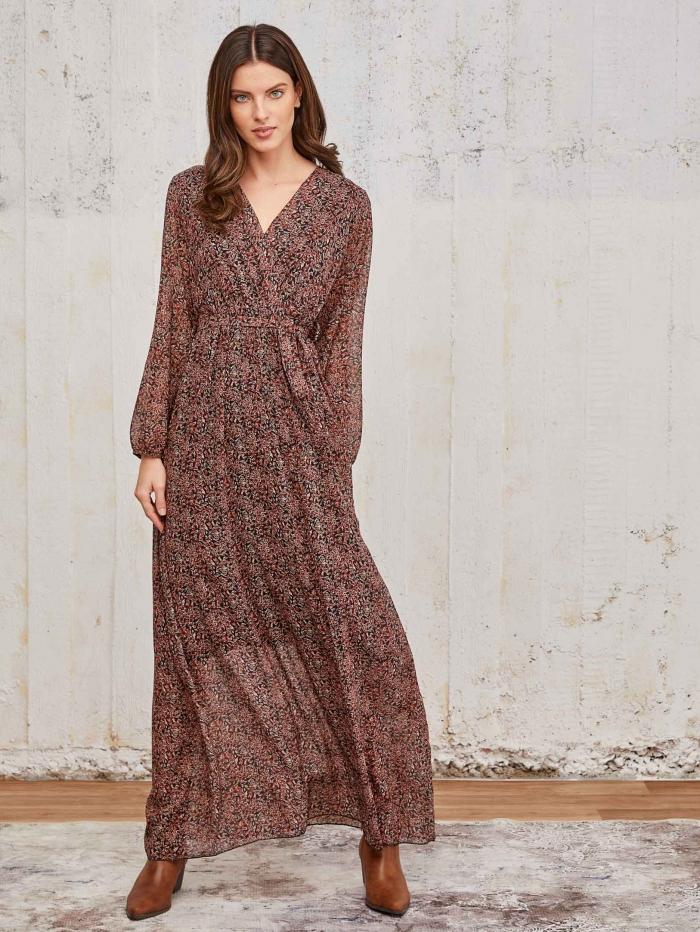 Μακρύ εμπριμέ κρουαζέ φόρεμα