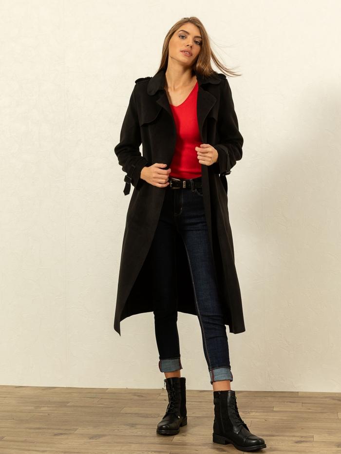 Μακρύ παλτό σε στυλ καπαρντίνας