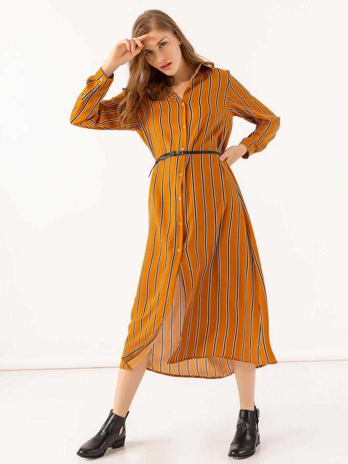 Μακρύ ριγέ σεμιζιέ φόρεμα