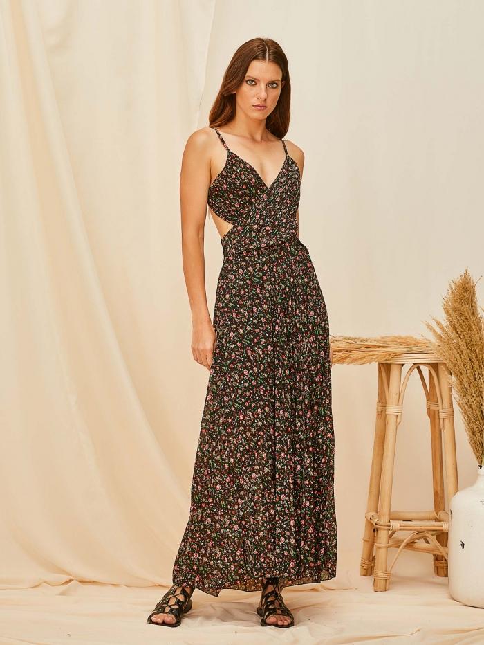 Μάξι φλοράλ φόρεμα με ανοιχτή πλάτη