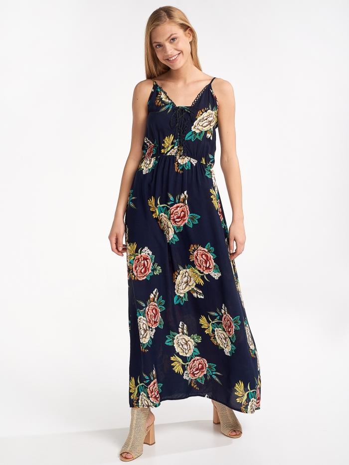 Μάξι φλοράλ φόρεμα με κορδόνια