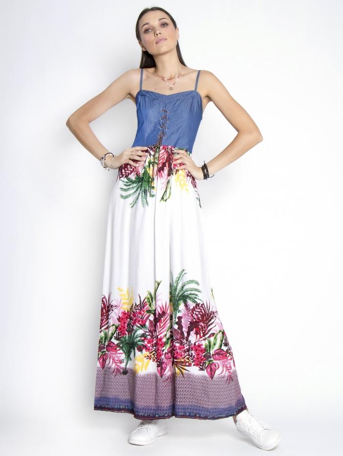 Μάξι φλοράλ φόρεμα σε συνδυασμούς χρωμάτων