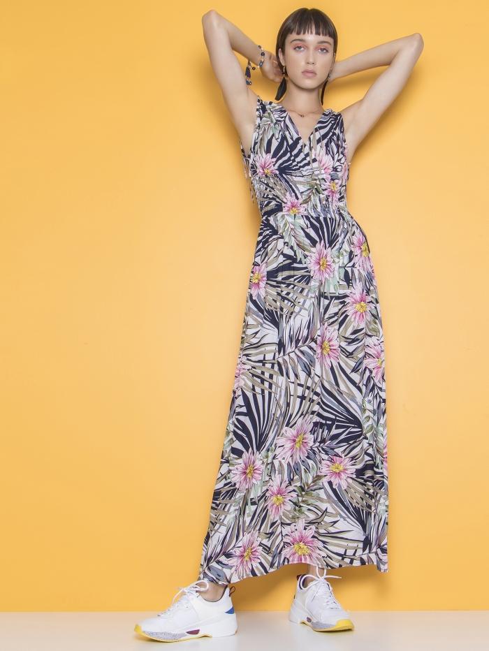 Μάξι φλοράλ φόρεμα σφηκοφωλιά