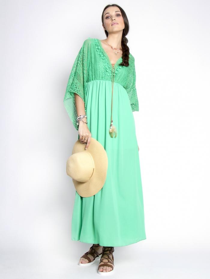 Μάξι φόρεμα με δαντέλα στο πάνω μέρος