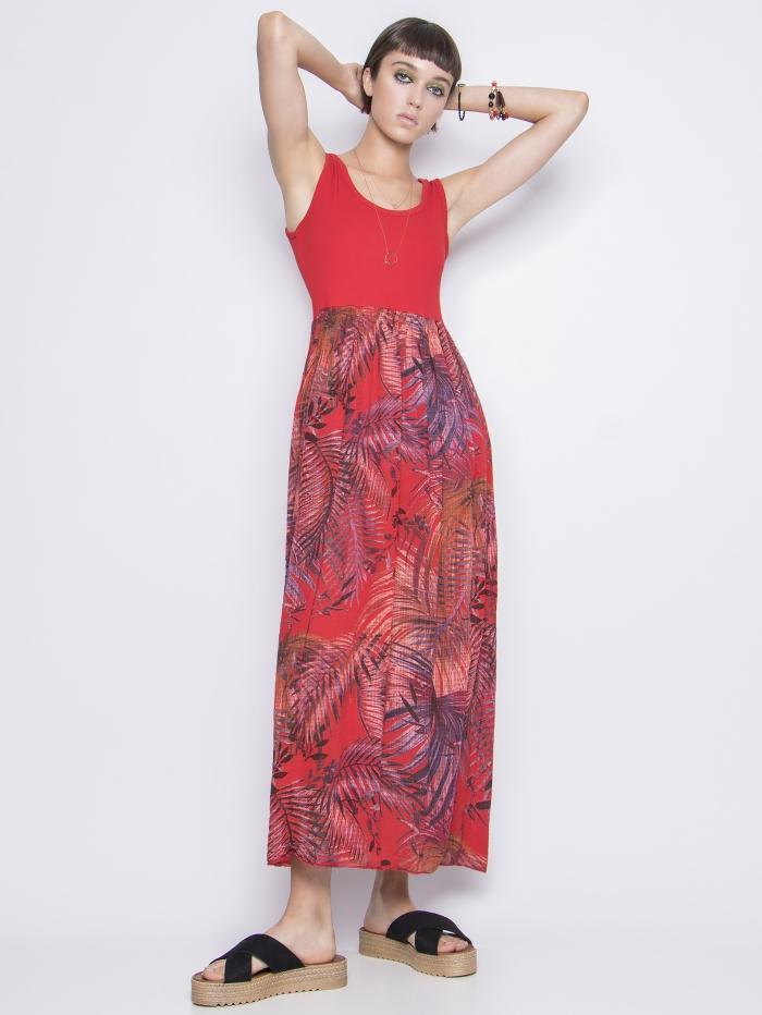 Μάξι φόρεμα με συνδυασμούς χρωμάτων