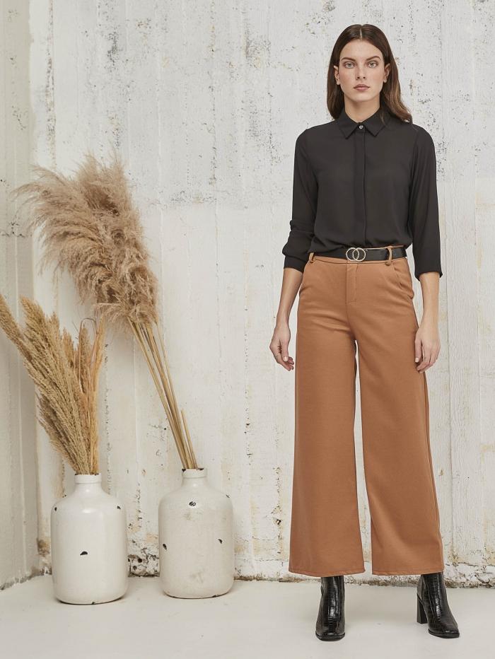 Μάλλινη παντελόνα με ζώνη