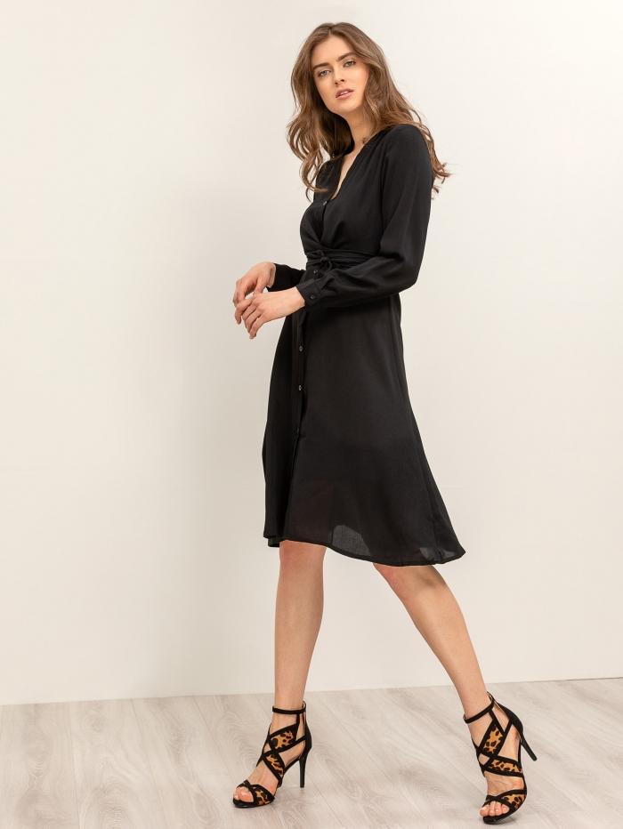 Μαύρο midi σεμιζιέ φόρεμα