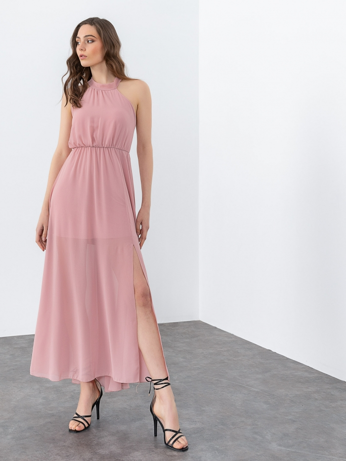 Maxi αέρινο φόρεμα με σταυρωτή πλάτη