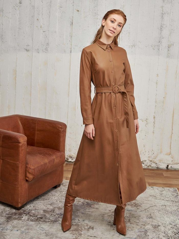 Maxi δερμάτινο button down φόρεμα