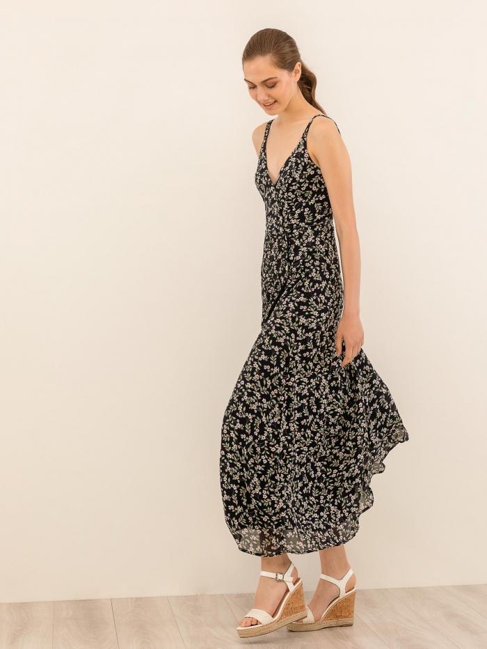 Maxi φλοράλ φόρεμα με κουμπιά
