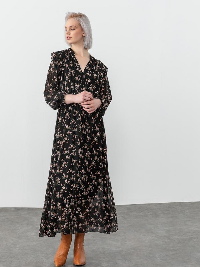 Maxi φλοράλ φόρεμα με ζώνη