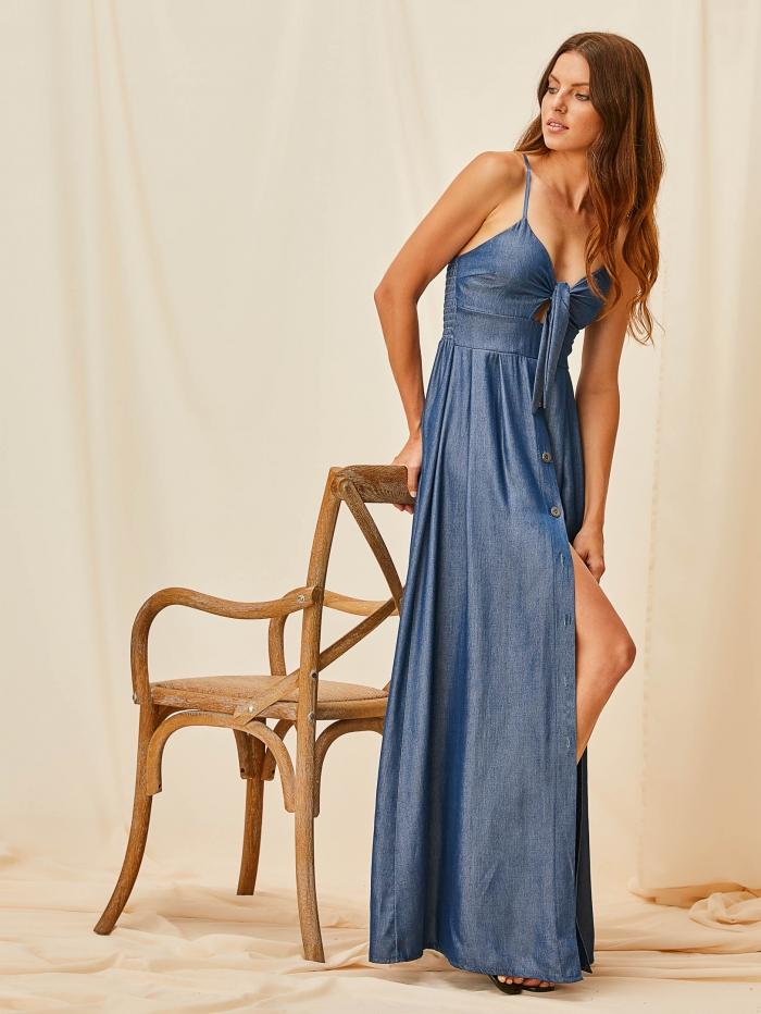 Maxi φόρεμα με κουμπιά και denim όψη
