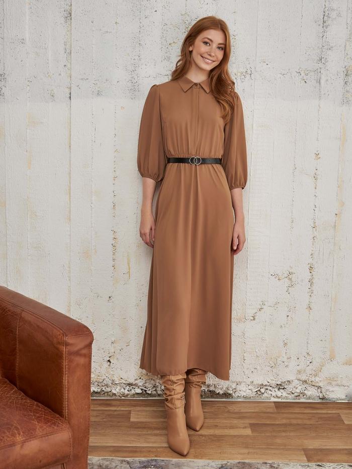 Maxi φόρεμα με puff μανίκι