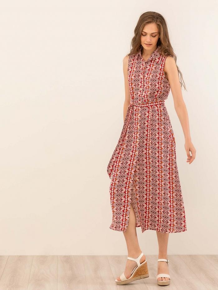 Maxi φόρεμα-πουκάμισο με εμπριμέ μοτίβο