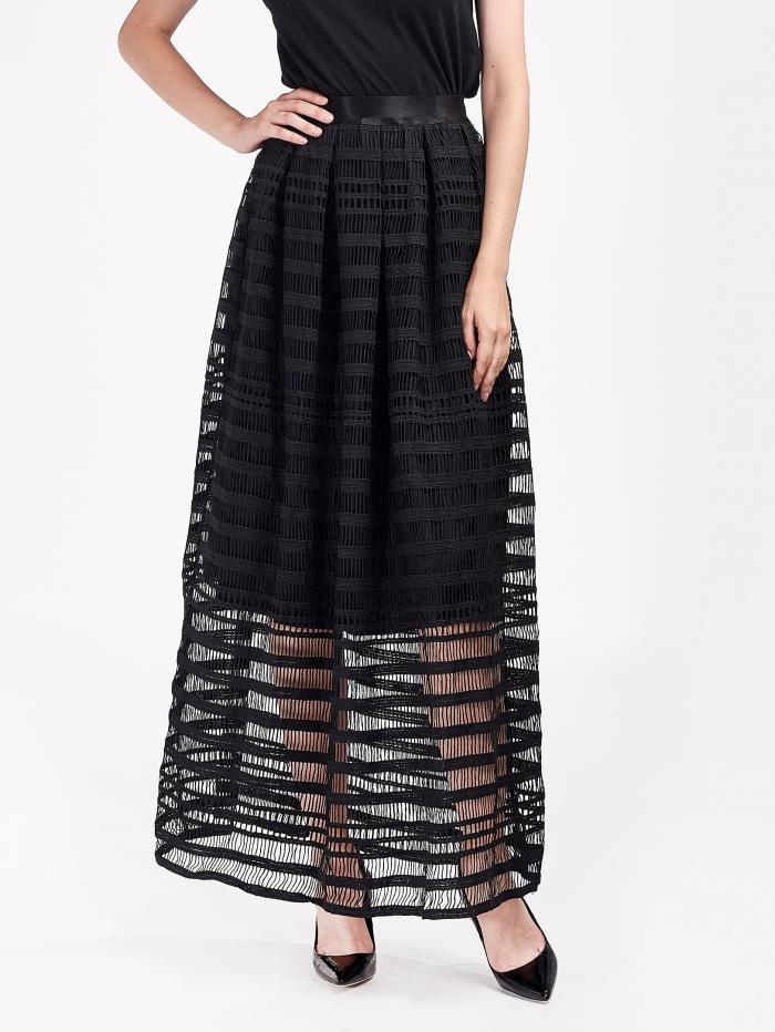 Maxi φούστα με πλεκτό εφέ